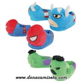 Zapatillas peluche Superhéroes (Hulk, Spiderman, Capitán América)