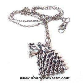 Colgante lobo Casa Stark con cadena (Juego de Tronos)