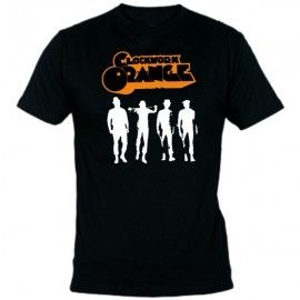 Camiseta MC Unisex Naranja Mecanica figuras