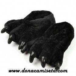 Zapatilla Peluche Garras Negra