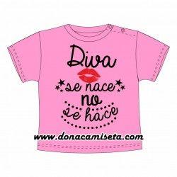Camiseta bebé Diva se nace no se hace