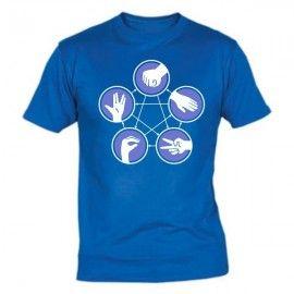 Camiseta Piedra, papel, tijera, lagarto, Spock