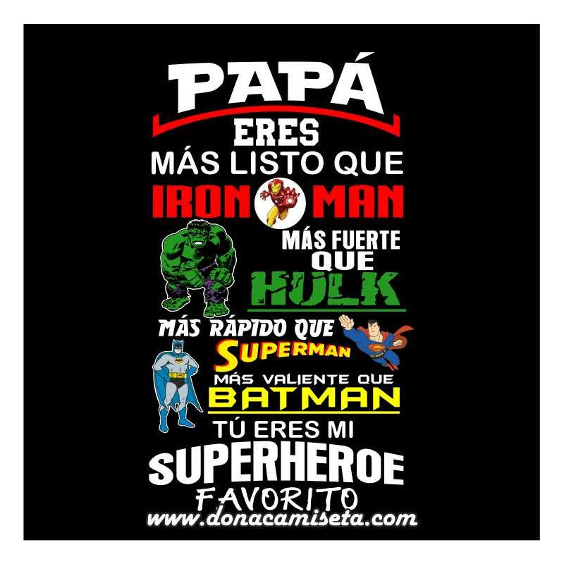 Camiseta Papá Superheroe Favorito colores 05fc4cf537d69