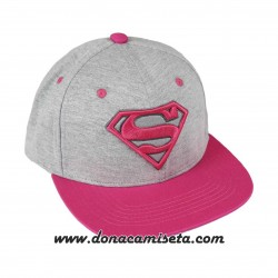 Gorra Superman logo 3D rosa visera plana premium