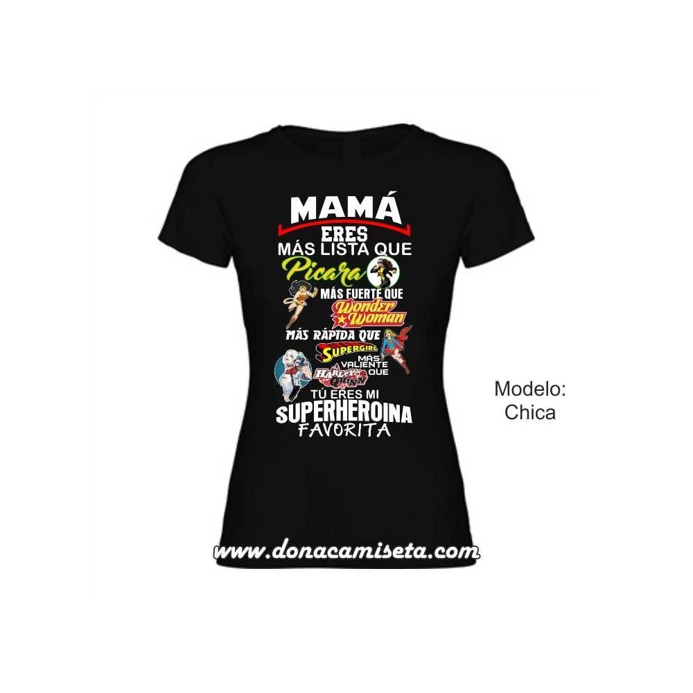 Camiseta Mamá Superheroina Favorita colores