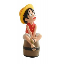 Hucha One Piece Figura Luffy sobre el barril en 3d