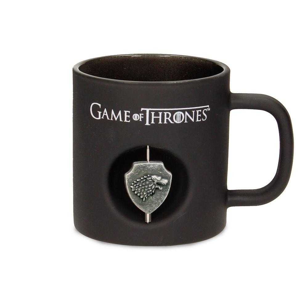 Taza en cristal Negro de Juego de Tronos logo Stark Giratorio 3D