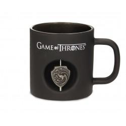 Taza en cristal Negro de Juego de Tronos logo Targaryen Giratorio 3D