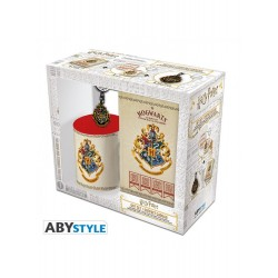 Set 3 pzas Harry Potter escudo Hogwarts taza + llavero + libreta