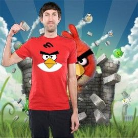 Camiseta MC Cara Angry Bird Rojo