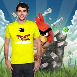 Camiseta MC Unisex Cara Angry Bird Amarillo