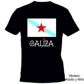 Camiseta MC Bandera Galicia Estrella Texto