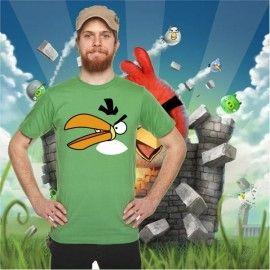 Camiseta MC Unisex Cara Angry Bird Verde