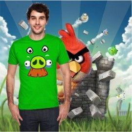Camiseta MC Unisex Cara Cerdo Bigote (Angry Birds)