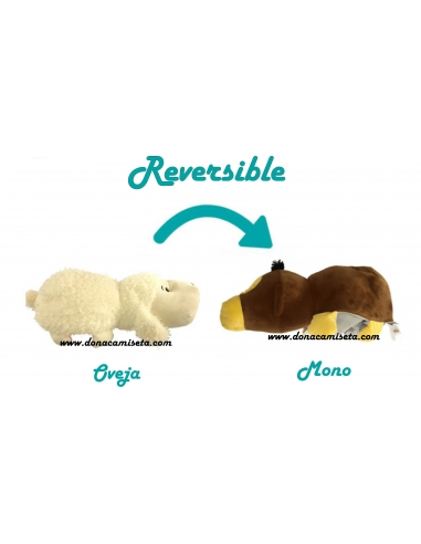Peluche Oveja y Mono Reversible 2 en 1