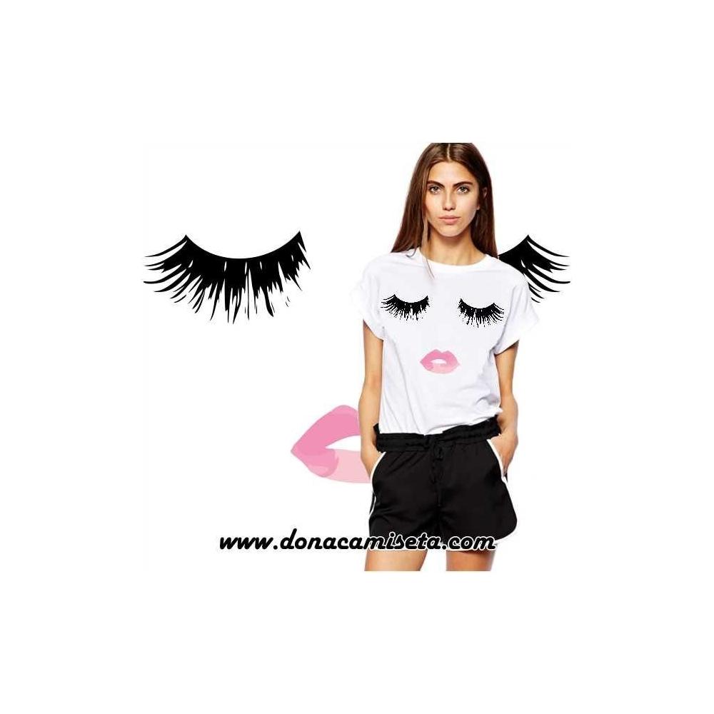 Camiseta Pestañas labios rosas