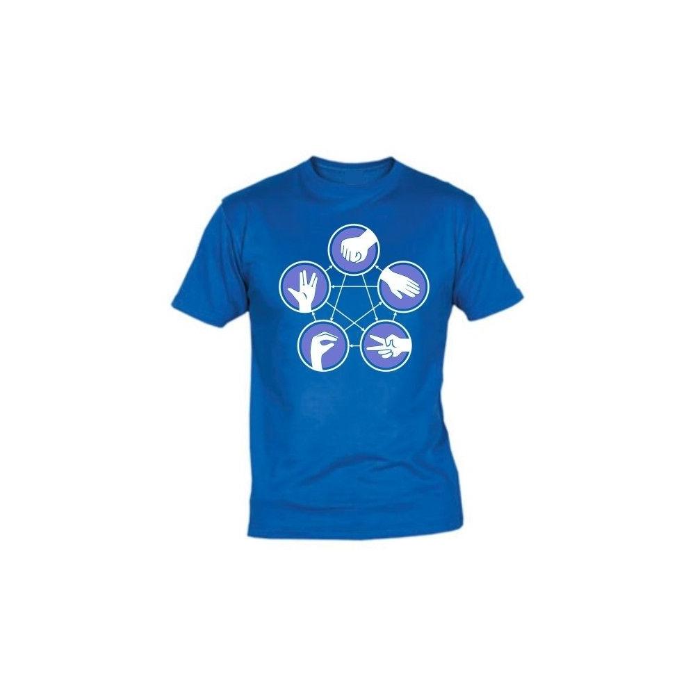 Camiseta MC Unisex Piedra, papel, tijera, lagarto, Spock