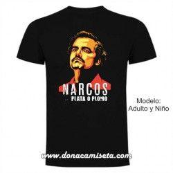 Camiseta Narcos colores Plata o plomo