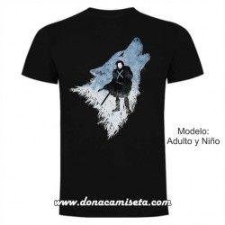 Camiseta Jon Snow lobo