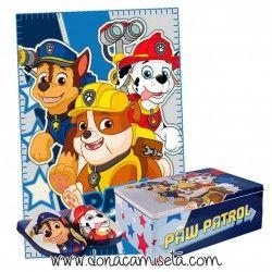 Pack manta polar + zapatillas + caja de lata Patrulla canina