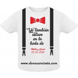 Camiseta Bebé pajarita Boda personalizable