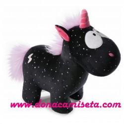 Peluche Unicornio Carbon Flash 22cm negro con lunares y rayo plata