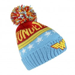 Gorro Wonder Woman con Pompom logo bordado 3d invierno
