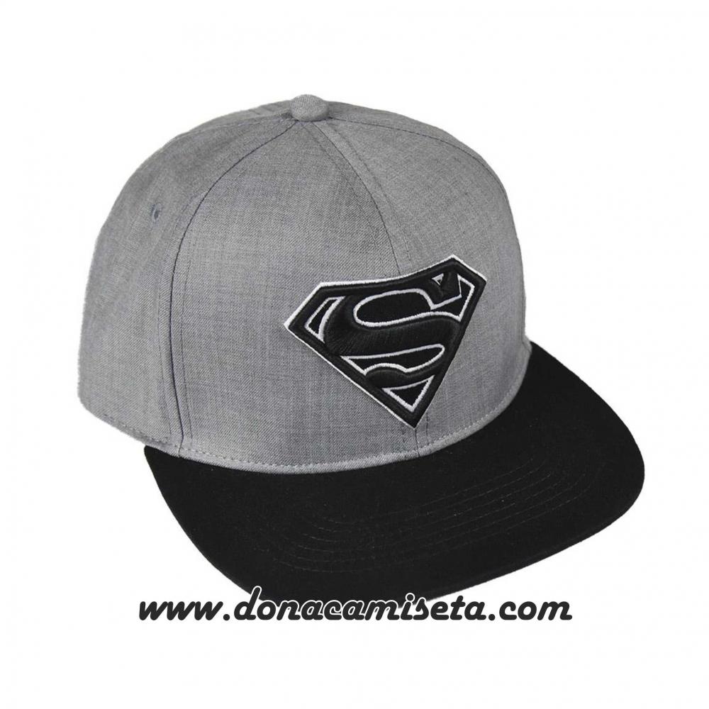 Gorra Superman logo 3D gris visera plana premium