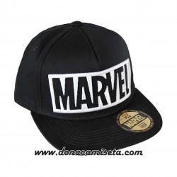 Gorra Marvel logo 3D blanco visera plana premium
