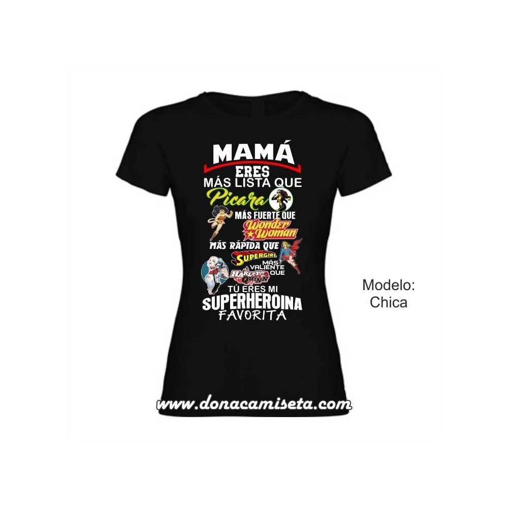 Camiseta Mamá Superheroina Favorita colores