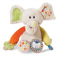Peluche Elefante de actividades con sonajero y agarra chupete Nici