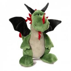 Peluche Dragón verde c/ alas gris Sentado Creatures 30cm