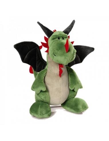 Peluche Dragón gris verde Alas Sentado Creatures 30cm
