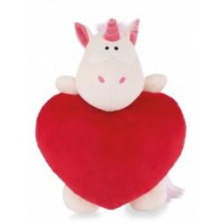 Cojín Corazón Unicornio Theodor Rojo 25x22cm