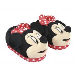 Zapatillas de casa Minnie 3d Con lazo rojo de lunares