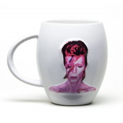 Jarra David Bowie cerámica blanca oval con Rayo
