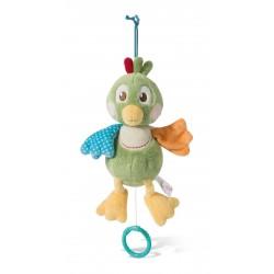 Peluche Pájaro Fritz de actividades con sonajero y agarra chupete Nici