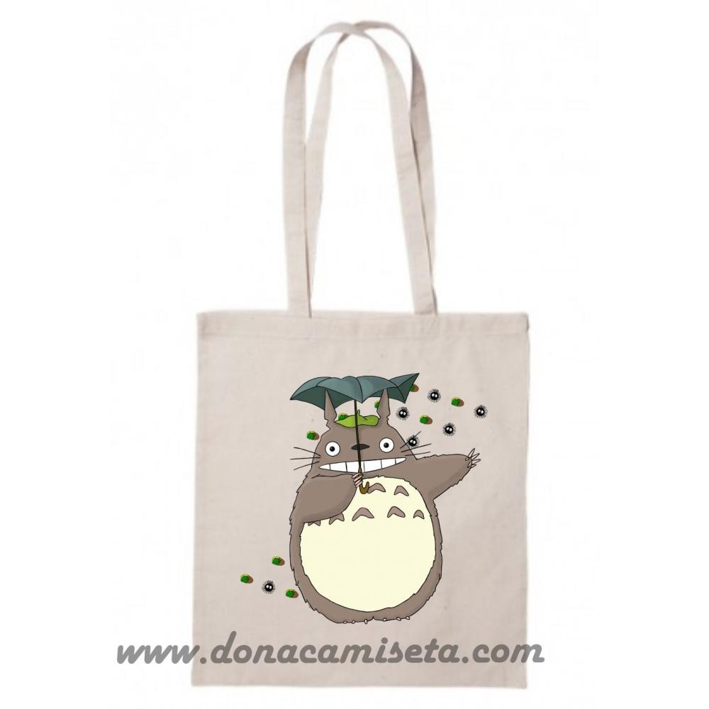 Bolsa Algodón Totoro cara barriga asa larga