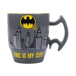 Taza Batman dibujo Gotham y asa en diseño logo 3d