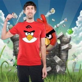 Camiseta MC Unisex Cara Angry Bird Rojo