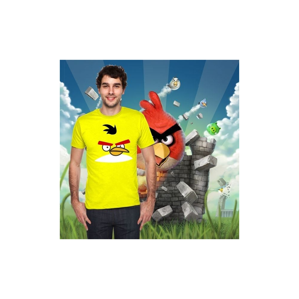 Camiseta MC Unisex Cara Angry Bird Amarillo