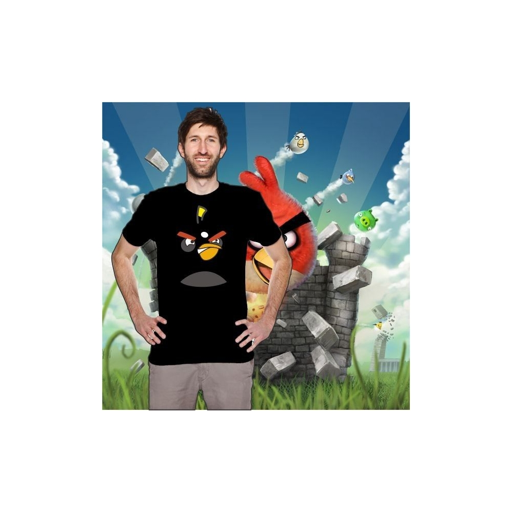 Camiseta MC Unisex Cara Angry Bird Negro