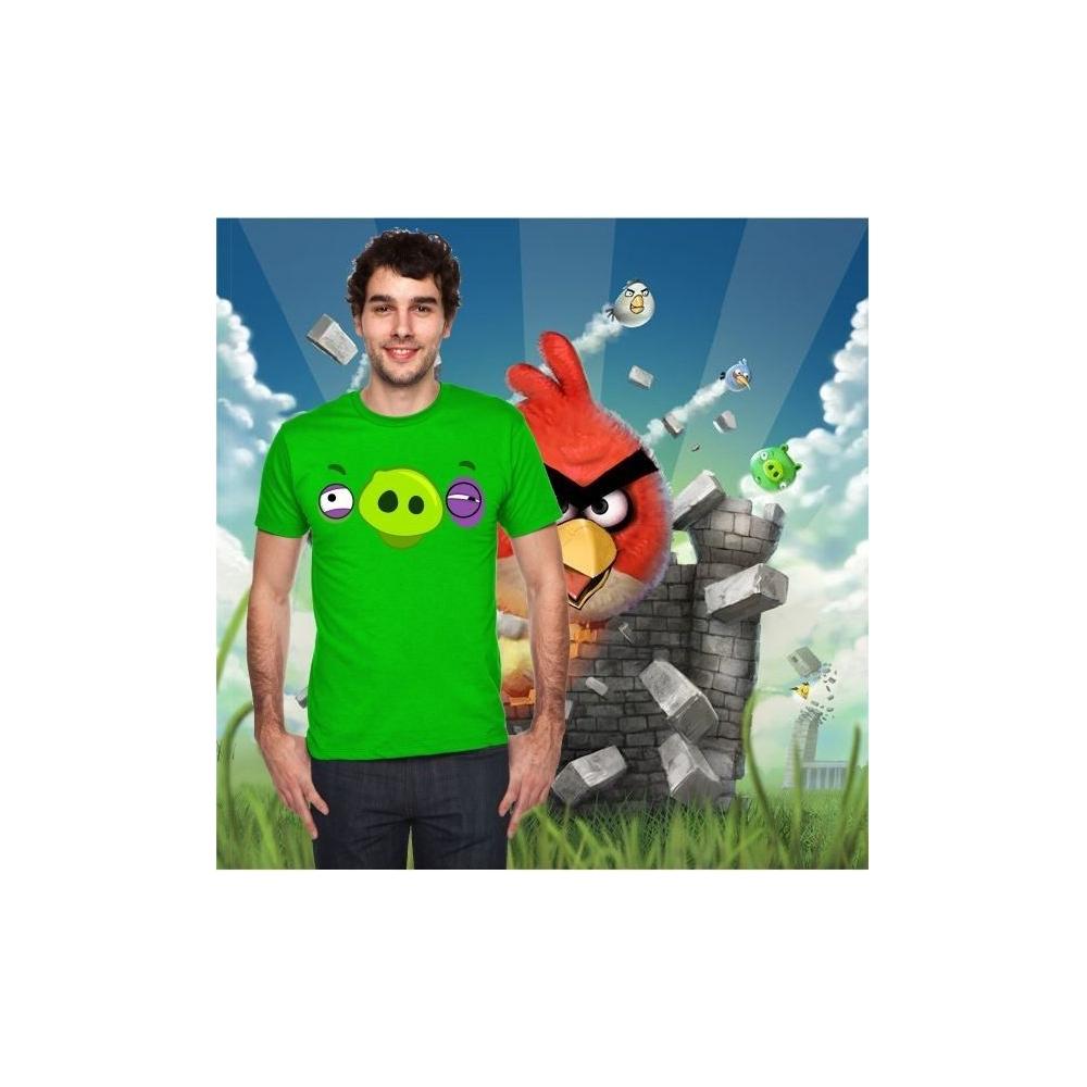 Camiseta MC Unisex Cara Cerdo Ojo Morado (Angry Birds)